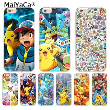 MaiYaCa Pokemons Characters  Transparent Cover Case for Apple iPhone 8 7 6 6S Plus X 5 5S SE 5C XS XR XSMAX