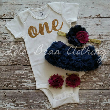 Baby Girl Baby Girl 1st Birthday Outfit Cake Smash Photography Props Gold One Onesuit Navy Bloomers Barefoot Sandals Plum Gold