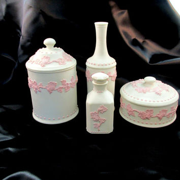 Italy Vanity Set Signed And Numbered Four Piece Dresser Set Powder Bowl Perfume Bottle Cotton Jar Vintage Fine Pottery Vintage Item 1394