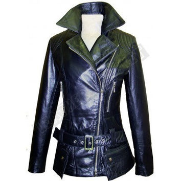 New Handmade stylish  Women's Belted Black Biker Leather Jacket