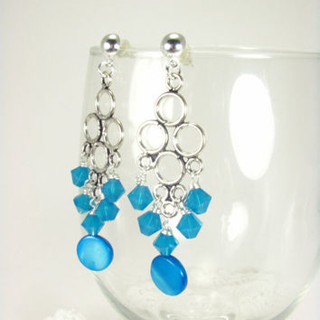 Chandelier Earrings Caribbean Blue Swarovksi and Mother of Pearl- Wedding, sweet 16, quinceanera, mother's day, gift earrings