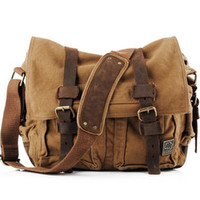 military canvas leather laptop messenger bag pre-washed