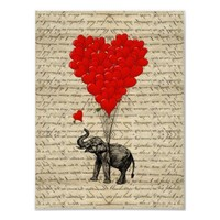 Elephant and heart shaped balloons print from Zazzle.com