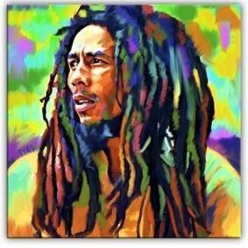 Bob Marley portrait original  CANVAS art --Al Pacino  24 inches OIL painting-special offer-free shipping cost