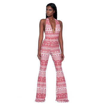 Boho Print Halter V-neck Backless Jumpsuit