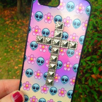 Studded Silver Cross Iphone 4 4S Phone Case Emoji Alien Floral Print Hipster Phone Cover