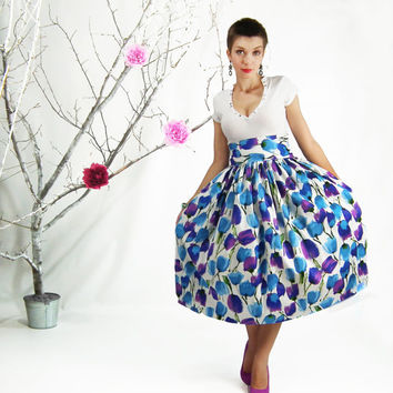 Midi Skirt - Circle Skirt, Full Skirt,  High Waisted Floral Skirt, Tea Length Skirt, Plus Size Skirt, Bridesmaid Skirt, A-line Cotton Skirt
