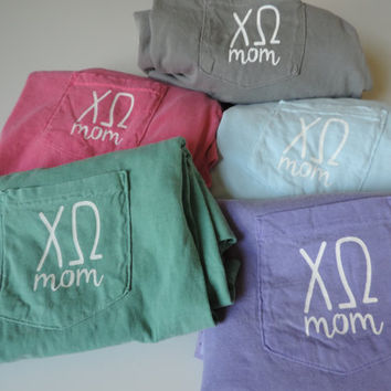 New Chi Omega Mom Apparel Shirt Sweatshirt & More // Sizes S-XL // Pick Color and Style