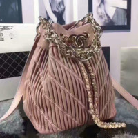 CHANEL Women Shopping Leather Metal Chain Crossbody Satchel Bucket bag  Shoulder Bag  pink