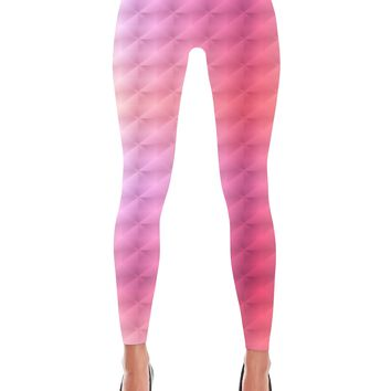 Pink Square Holographic Print Leggings