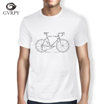 Personalized Funny Tshirt Men Bicycle Parts Tee Shirt Streetwear Summer Tops Homme Harajuku Hip Hop Plus Size White Modal tshirt