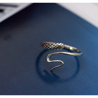 New Arrivals Punk 925 Sterling Silver Snake Rings For Women Adjustable Size Finger Ring Fashion sterling-silver-jewelry