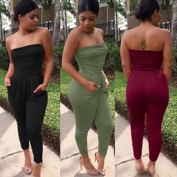 Hot Sale Women's Fashion Sexy Bra Shaped Ruffle Pen Pants Jumpsuit [8096509959]