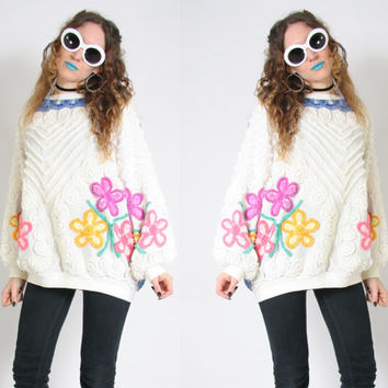 80s Fuzzy Tapestry Sweater - Floral Oversized Sweater - Soft Grunge Pastel Goth Clothing - Cozy Shaggy Sweater - Vintage 90s 80s Crewneck