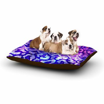 "Ebi Emporium ""Tribal Leopard Galaxy"" Purple Blue Painting Dog Bed"