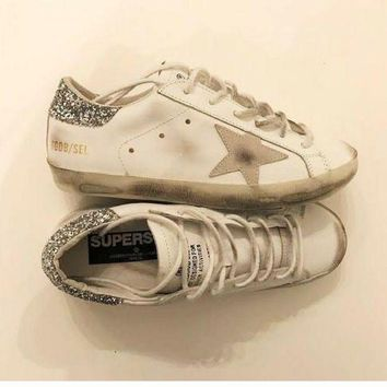 PEAP2Q golden goose deluxe brand glitter white super star sneakers