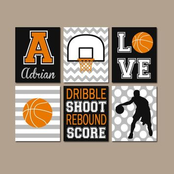 Basketball Wall Art, Basketball Decor, Canvas or Prints, Sports Theme Bedroom Wall Decor, Big Boy Room Decor, Set of 6 Basketball Wall Decor