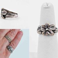 Vintage Sterling Silver Hibiscus Flower Ring, Flowers, Leaves, Floral, 3D, Highly Textured, Size 5 1/2, Unique & Beautiful! #b920