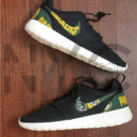Nike Roshe Run Black White Green Bay Packers Football Custom Men & Women
