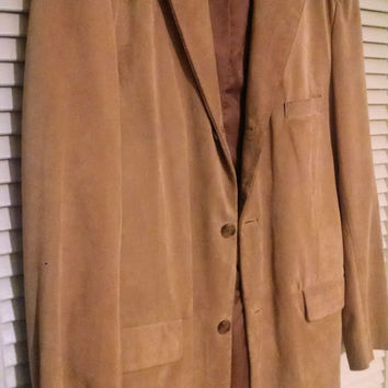 Mens Suede Leather Jacket Signed Alfani Sport Coat Blazer Size 44 Long Cinnamon Color Leather