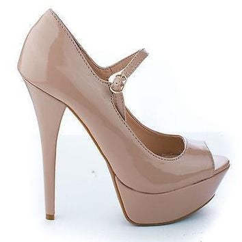 Confident01 Natural Patent By Anne Michelle, Mary Jane Peep Toe Platform Stiletto Heel Pumps