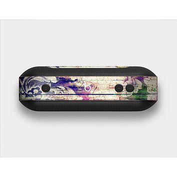The Abstract Color Floral Painted Wood Planks Skin Set for the Beats Pill Plus