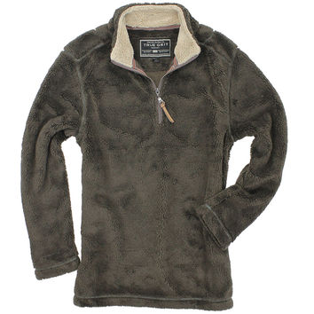 Pebble Pile Pullover 1/2 Zip in Vintage Brown by True Grit