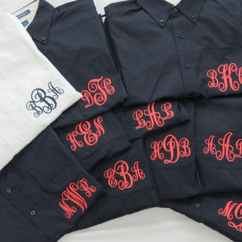 15 Monogram Wedding Shirts Navy with Pink Coral Fluorescent Custom Embroidery Getting Ready Boyfriend Shirt Wedding Party Gift