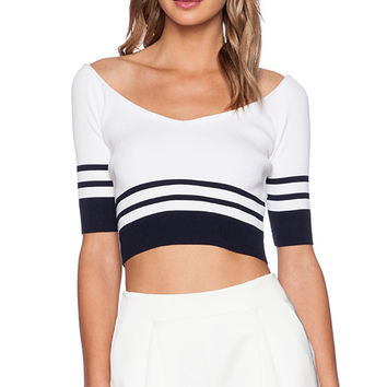 Red Valentino Ribbed Crop Top in White