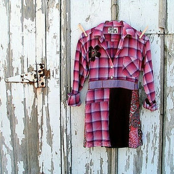 upcycled tunic red violet raspberry warm pink salmon artsy bohemian plaid paisley refashioned eco clothing small