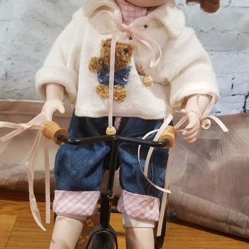 Geppeddo Playtime Series Redhead on Trike  Porcelain Dolls Collectible
