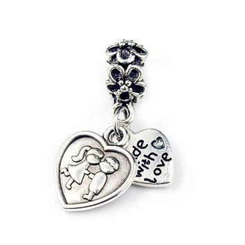 Silver Plated Bead Charm Boy Kiss Girl Made with Love Heart Pendant Beads Fit Pandora