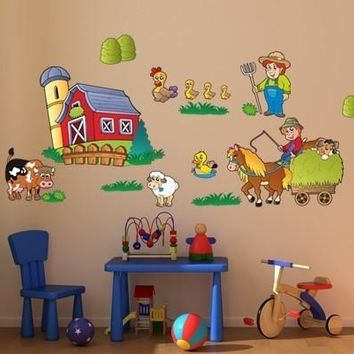Kids Sticker Farm Wall Decal Set