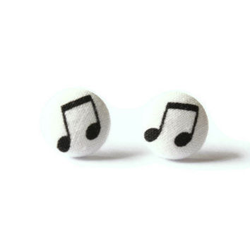 Beamed Note Fabric Covered Musical Note Earrings