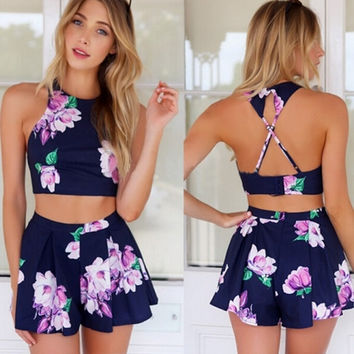 Stylish Lady Sexy Women's Floral Printed Pants Set Casual Halter Off-shoulder Backless Crop Tops And Shorts