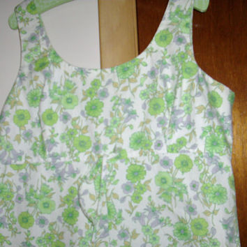 Sale Stay Cool Be Ready For Summer Cute Vintage Green Flowered Romper/ One Piece Shorts and Sleevless