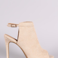 Anne Michelle Suede Peep Toe Mule Booties