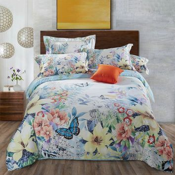 Svetanya Duvet Cover Set Flower Print Bedding Sets Bedlinen Full Queen King Size for Kids Teens Adults 100% Cotton