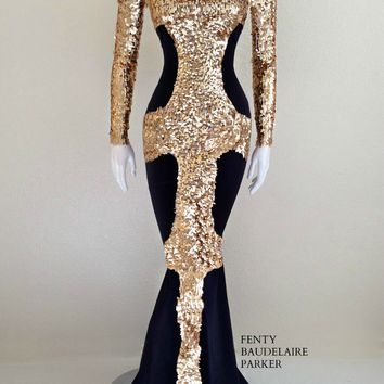Original Price $990 Anubis Scarab, Hand Beaded Sequins Gown. Scuba bodice with sequins detailing, tear drop sequins beading on sleeves, chest, bodice. Hidden zipper