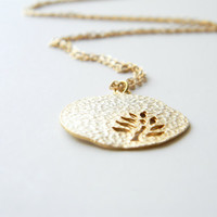 "Gold Necklace - Leaf Necklace - Long Necklace - 24"" - Matte Gold Chain with Gold Leaf Pendant"