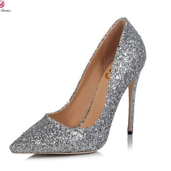 Original Intention Super Sexy Women Pumps Fashion Glitter Pointed Toe Thin High Heels Multi Colors Shoes Woman Plus Size 3-10.5