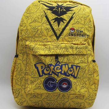 GO Team Instinct Zapdos Laptop Backpack Anime Shoulder School Bag Unisex Cartoon Yellow Student Bags BookbagKawaii Pokemon go  AT_89_9