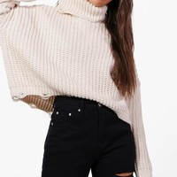 Aimee Distressed Roll Neck Oversized Jumper | Boohoo