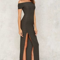 Slit Down Ribbed Dress