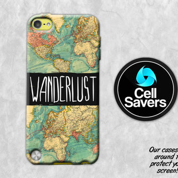 Wanderlust iPod 5 Case iPod 6 Case iPod 5th Generation iPod 6th Generation Rubber Case Gen Wanderlust Quote Travel World Map Quote Tumblr