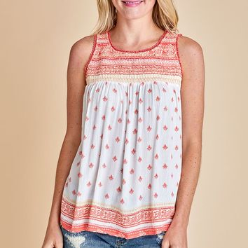 Skies Are Blue Ivory/Coral Printed Tank