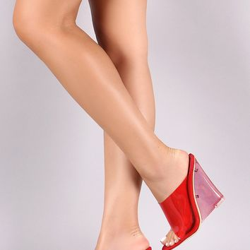 Translucent Open Toe Clear PVC Wedge Mule Heel