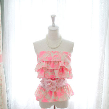 Summer Beach Vivid Baby Pink Abstract Rose Bud Peplum Tube Top Blouse pastel candy
