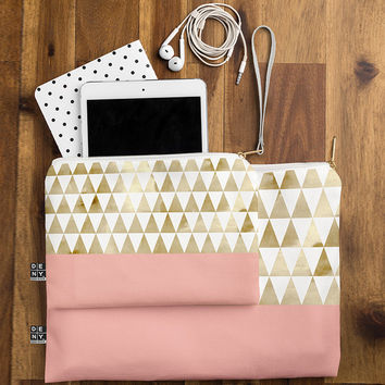 Gold Triangles Flat Pouch by Georgiana Paraschlv
