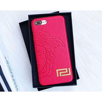 Versace 2018 New Fashion Brand iPhone 6/7/8/X Phone Case F-OF-SJK red
